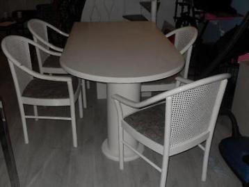 Leuke eetkamer tafel met 4 stoelen het leuke aan de tafel is dat je hem tegen een muur kan zetten en het ziet er nog leuk uit ook de eetkamer stoelen zijn met webbing tegen de rug je kan heel