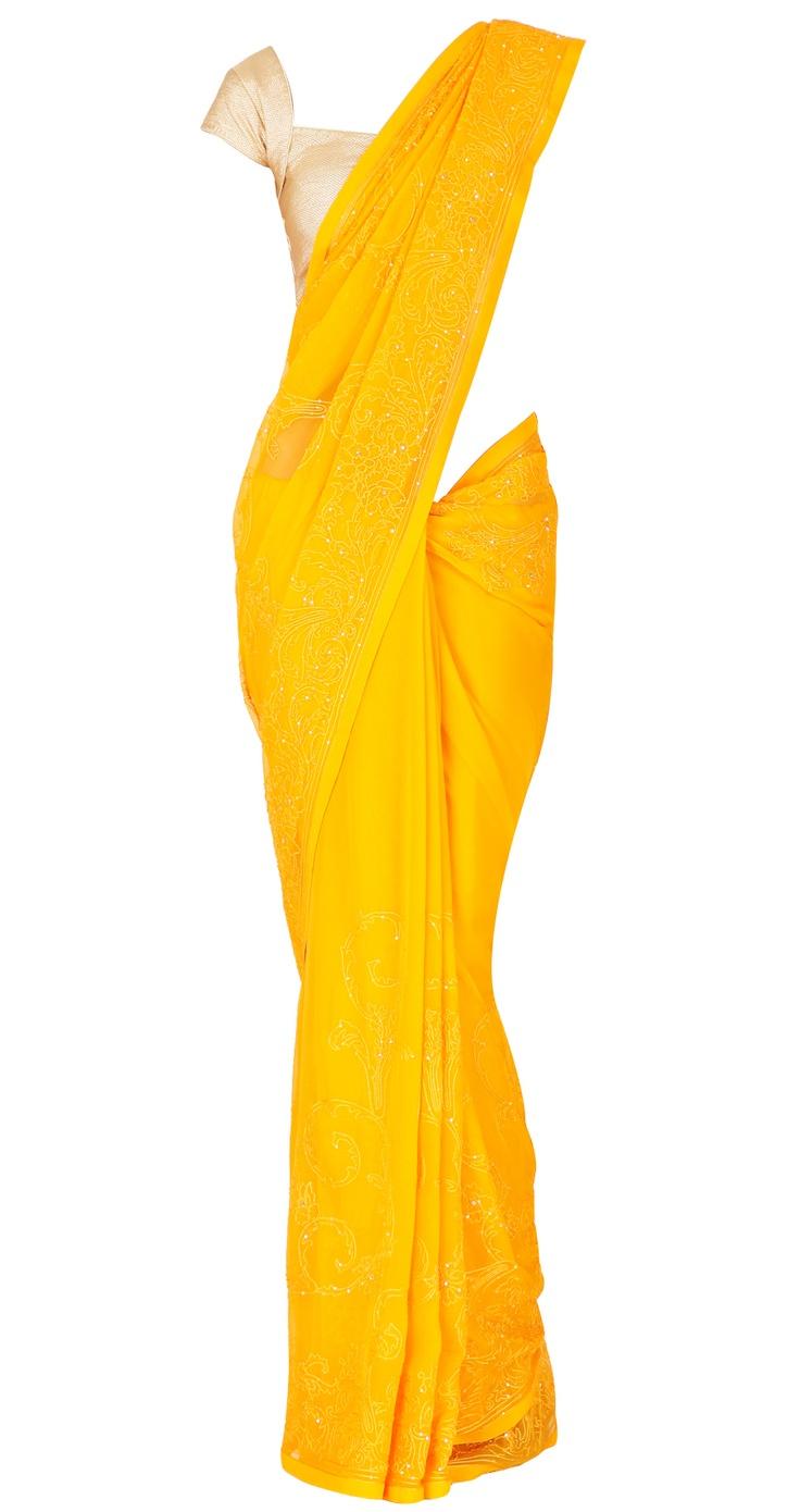 Yellow crinkled chiffon sari by SHEHLA KHAN. Shop at https://www.perniaspopupshop.com/whats-new/shehla-khan