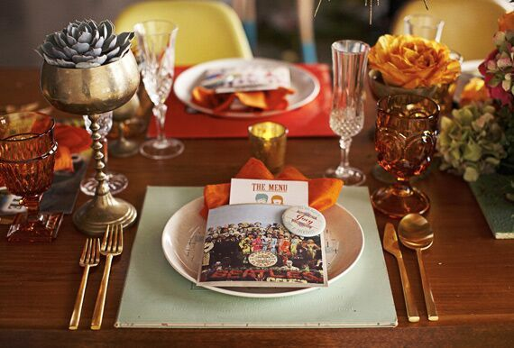 Vinyl Wedding Inspiration- Record Store Day- rustic/ vintage place setting