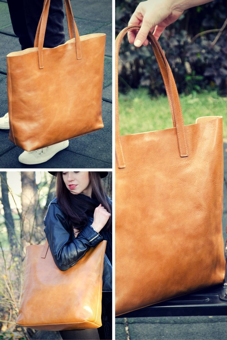 Classic Large Leather Bag. Handcrafted leather tote bag made from premium quality vegetable tanned Italian leather. Simplicity in style #handmade #leatherbag