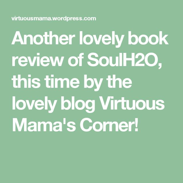 Another lovely book review of SoulH2O, this time by the lovely blog Virtuous Mama's Corner!