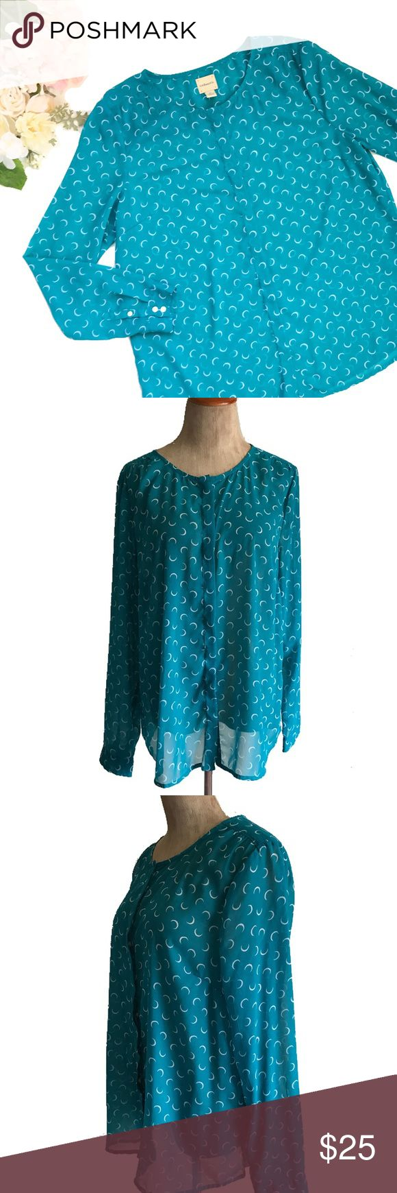 """G.H. Bass & Co Sheer Button Down Blouse Beautiful NWOT G. H. Bass & Co teal semi sheer blouse with white/off white crescents.  Scoop neck, hidden placket button front, button cuff, gathered shoulders, rounded hem. 100% polyester machine wash. Approx flat meas: length 28"""", bust 22"""", shoulders 17"""", waist 22"""", sleeve 25"""", hem 23"""" Tops Blouses"""