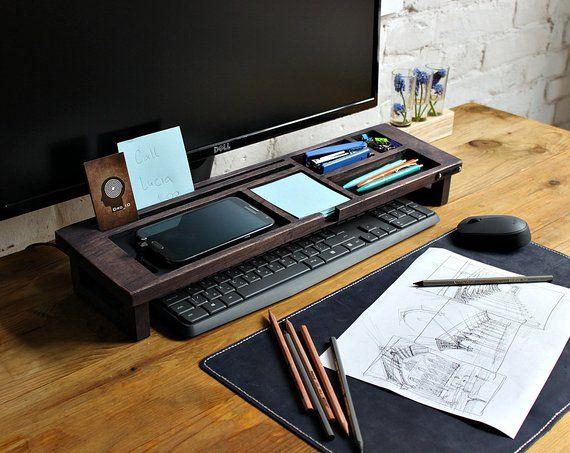 Wood Desk Organizer Oak Desk Accessories Exl Col Office Desk