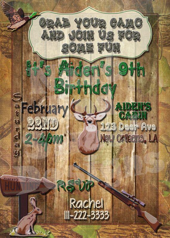 5 X 7 Printable Hunting Themed Birthday Invitation - Rustic Hunting Birthday Party Invitation camo birthday party #camoparty #huntingparty