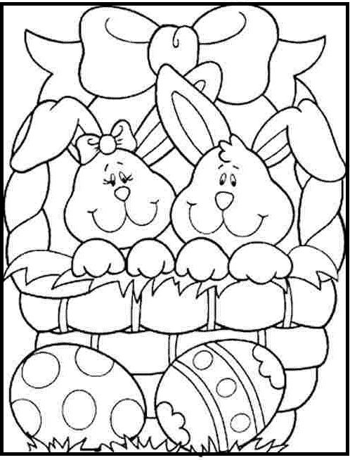 two small rabbits in the easter basket coloring picture for kids - Coloring Pages Easter Baskets