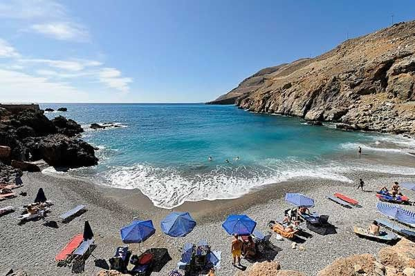 Limani (Sfakia Center) - here you will find two beaches. The smaller one is the Limani Beach of the seaside village, and the second one, Vrysi, that is bigger and better organized. #Greece #Crete #Chania #Terrabook #GreekIslands #Travel #GreeceTravel #GreecePhotografy #GreekPhotos #Traveling #Travelling #Holiday #Summer
