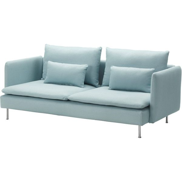 IKEA SÖDERHAMN Sofa, Isefall light turquoise (2.345 RON) ❤ liked on Polyvore featuring home, furniture, sofas, sofa, decor, couch, ikea, low sofa, turquoise couch and turquoise furniture