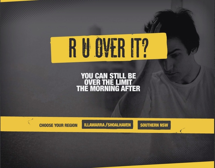 The 'R U Over It' Campaign was developed in response to a significant proportion of drink drive offences still occurring in the morning hours. The poster and brochure, targeting young drivers aged 17 to 25 years were initially developed by the Drink Drive Prevention Team at Southern NSW Local Health District and supported by Leeton Shire Council, as a local initiative to raise awareness that a person can still be intoxicated the morning after a night of drinking alcohol.