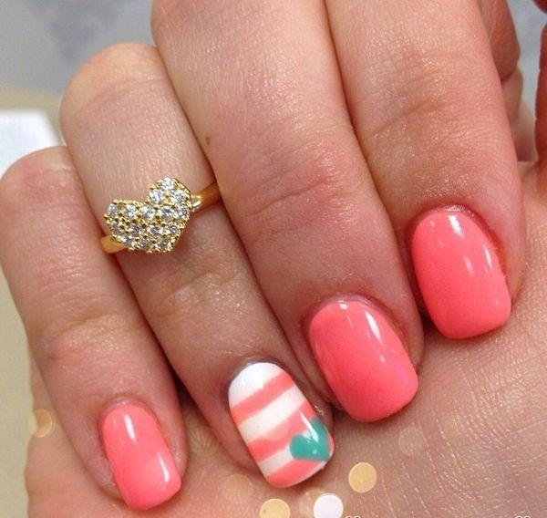 blue coral cute nail design