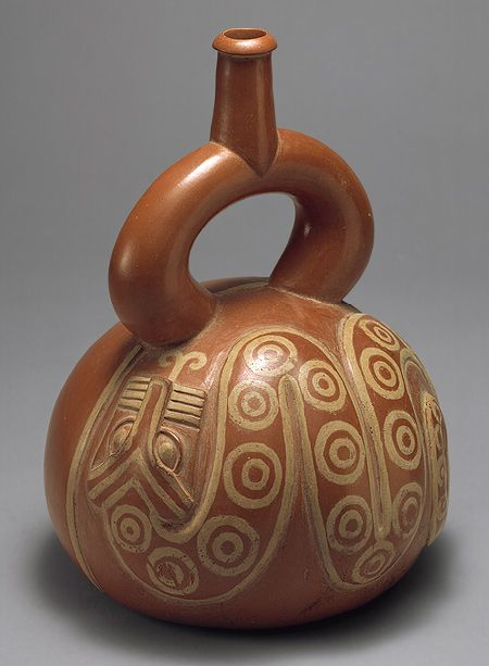 Moche stirrup-spout bottle with snake, Peru, 2nd–3rd C.  Metropolitan Museum of Art, NYC.