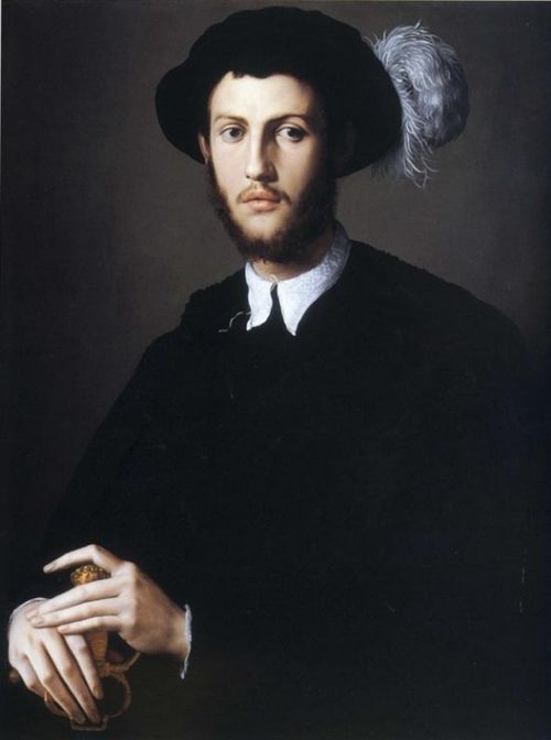 Agnolo Bronzino (Italian, 1503-1572), Portrait of Young Man in a Hat with a Feather. c. 1550-55. Oil on panel. 86 x 67cm. The Nelson-Atkins Museum of Art, Kansas City, Missouri.