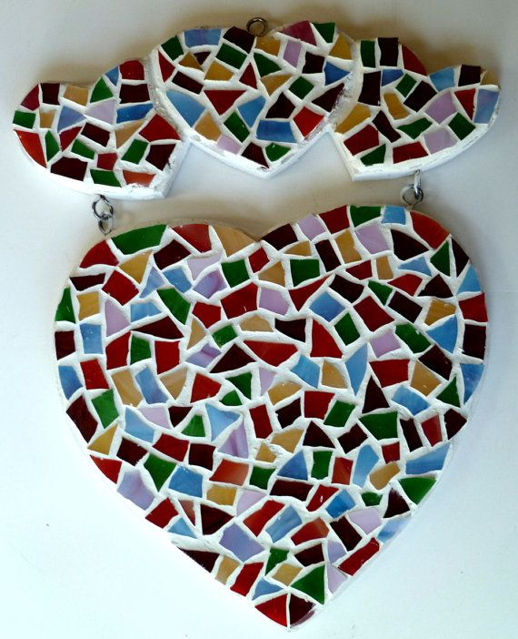 Mosaic heart great gift stained glass by SunAndCraft on Etsy, $19.99