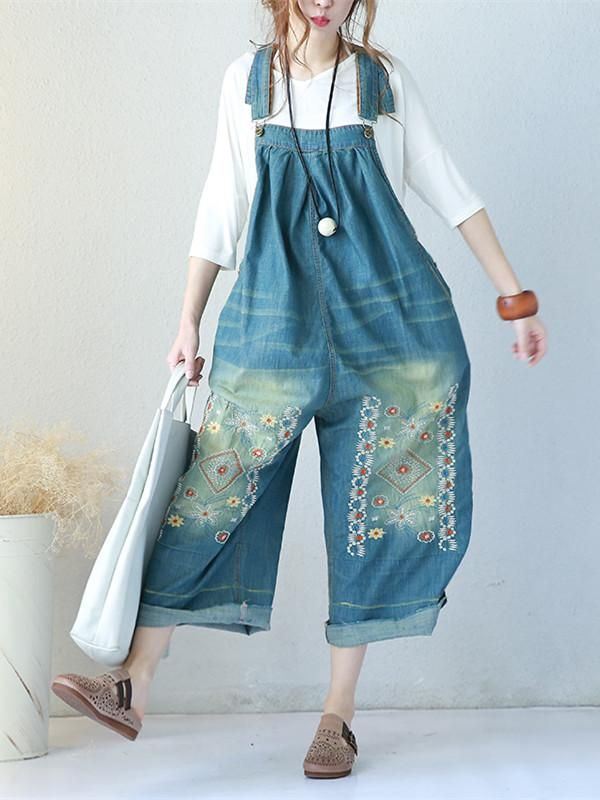 42f993c03cc2 Summer Casual Loose Women Denim Jumpsuits Blue One Size in 2018 ...