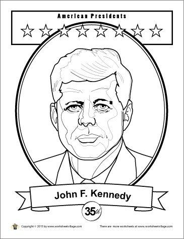 John F Kennedy Coloring Page Worksheet Village
