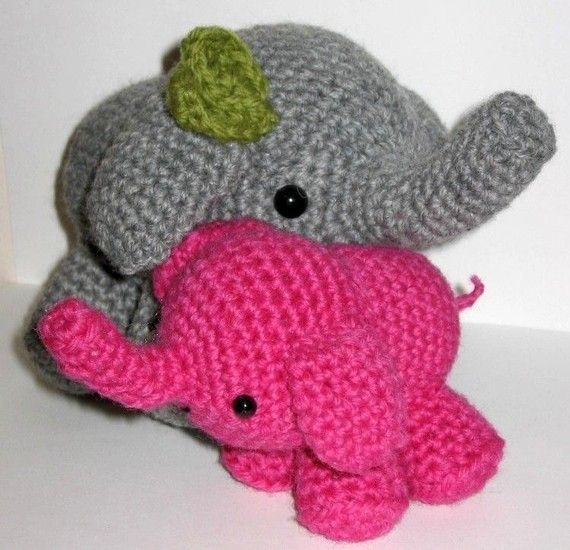 Crochet Pattern For Baby Espadrilles : Mom and Baby Elephant crochet pattern :) Knitting ...