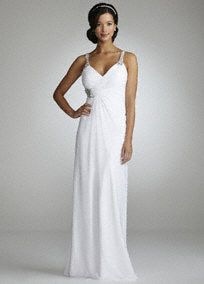 This long flowy chiffon gown is sure to be a crowd pleaser!  Soft flowy chiffon gown features dazzling beaded straps and dramaticdeep V-neck back.  Side drape skirt is slimming and flattering.  Ruched bodice is adnoredwith sparklingrhinestone detail at waist.  Available in white or ivory.  Fully lined. Side zip. Imported polyester. Spot clean only.