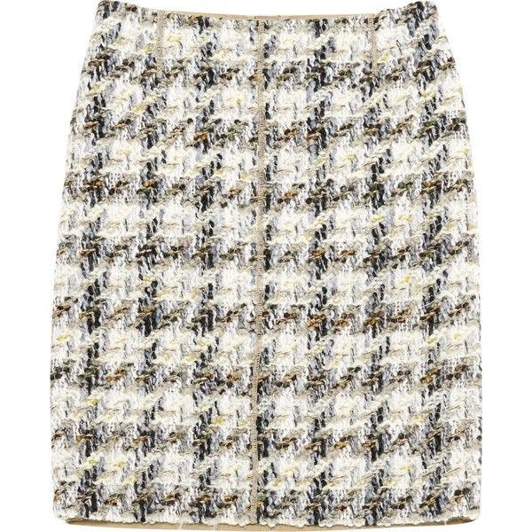 Pre-owned Louis Vuitton Mini Skirt (4,790 MXN) ❤ liked on Polyvore featuring skirts, mini skirts, beige, women clothing skirts, short skirts, louis vuitton, white mini skirt and short white skirt