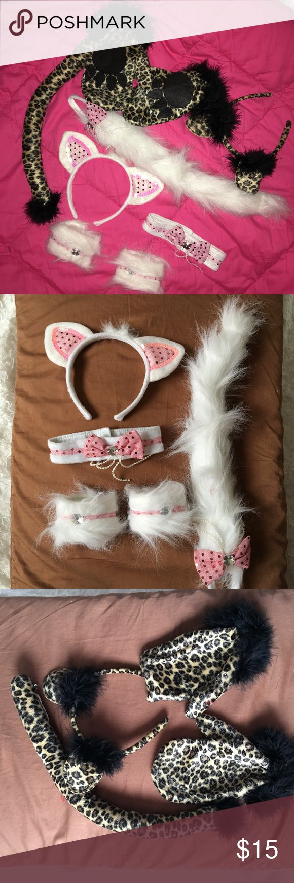 🎃SALE🎃 Bundle 2 set halloween costume accessorie Leopard cat,tail mittens and earpiece.  white and pink cat costume ,tail, earpiece, neck choker and  pair of cuff for the wrist . Never used None Costumes Halloween
