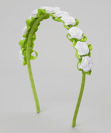 Look what I found on #zulily! White & Green Petite Rosette Headband #zulilyfinds