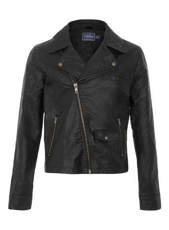 Black Leather Look Biker Jacket - Men's Jackets & Coats - Clothing