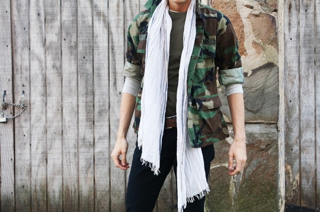 scarf with military jacket