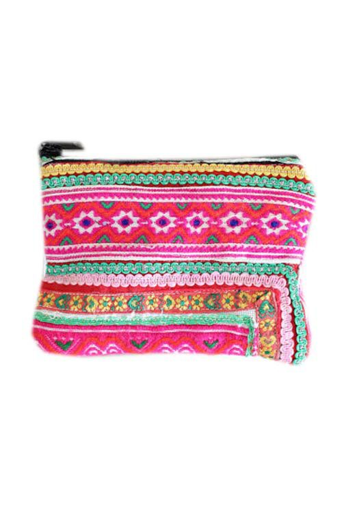 A unique one of a kind vintage fabric hand woven coin purse pouch handmade in Thailand. #offbeatcuts #offbeatboutique