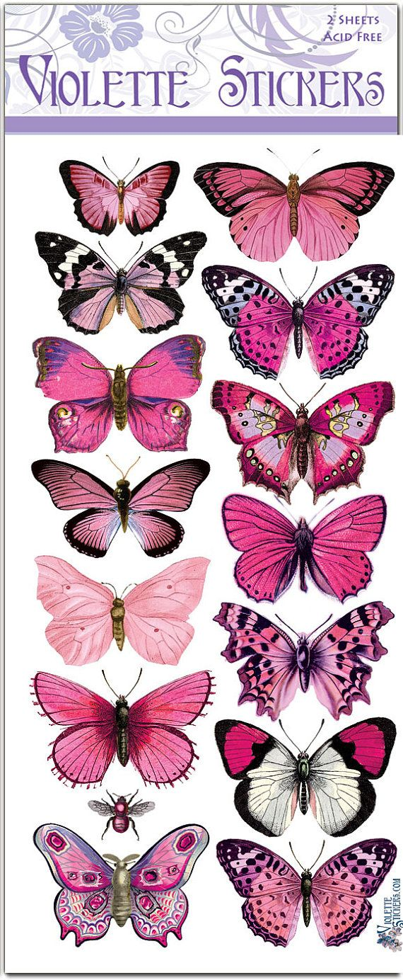 Rosa mariposa pegatinas para fabricar 2 hojas