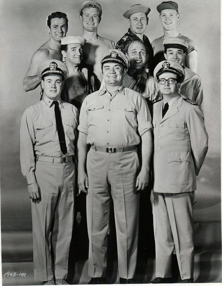 McHale's Navy is an American sitcom starring Ernest Borgnine that aired 138 half-hour episodes over four seasons, from October 11, 1962, to April 12, 1966, on the ABC network. The series was filmed in black and white. (front row: Tim Conway, Ernest Borgnine, Joe Flynn) (middle row: Billy Sands, Gavin MacLeod - MAYBE, Yoshio Yoda) (back row: Edson Stroll, Gary Vinson, Carl Ballantine, John Wright)