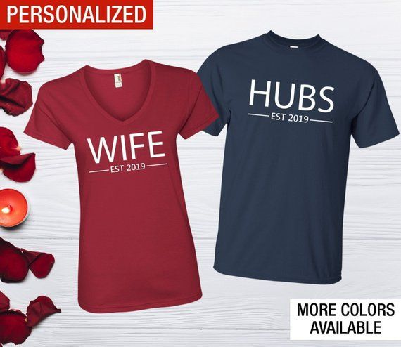 fbf52e79a95e0 Husband and Wife shirts Personalized Just married shirts. We select only  the best quality for honeymoon shirts because we know how important is for  you.