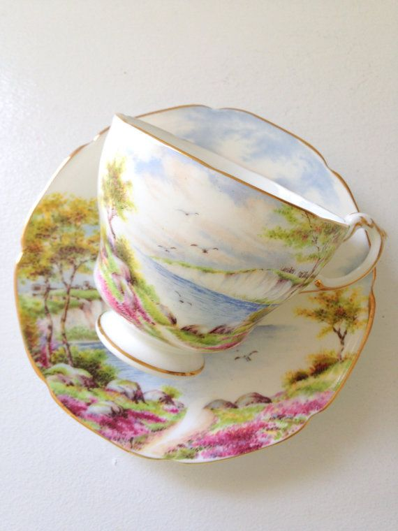 Vintage English Paragon By Appointment to Her Majesty the Queen China Potters Cliffs of Dover Pattern Fine Bone China Tea Cup and Saucer
