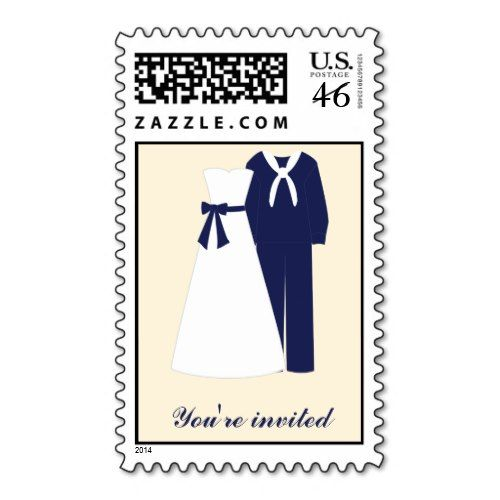 Military Wedding Custom Postage {navy} zazzle_stamp