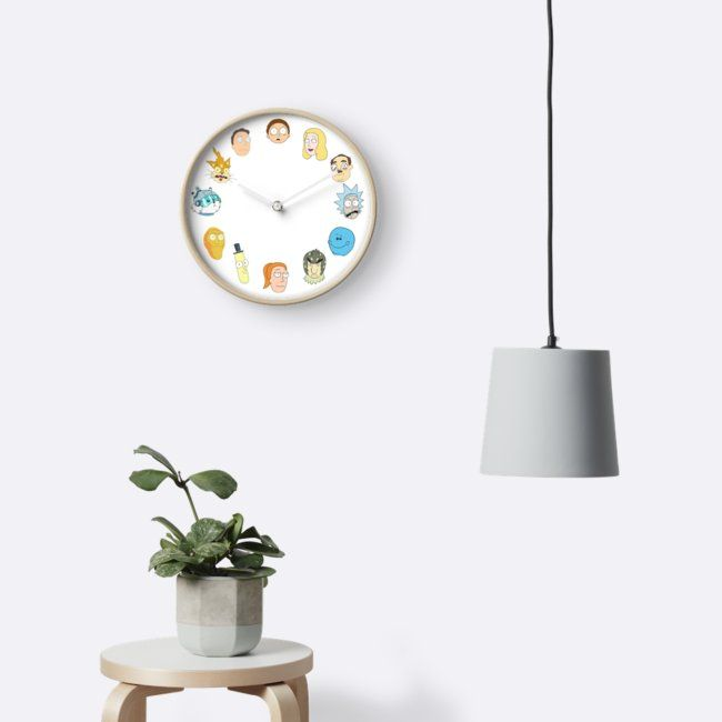 Cool characters from Rick and Morty on a clock. Best gift for Rick and Morty fan.