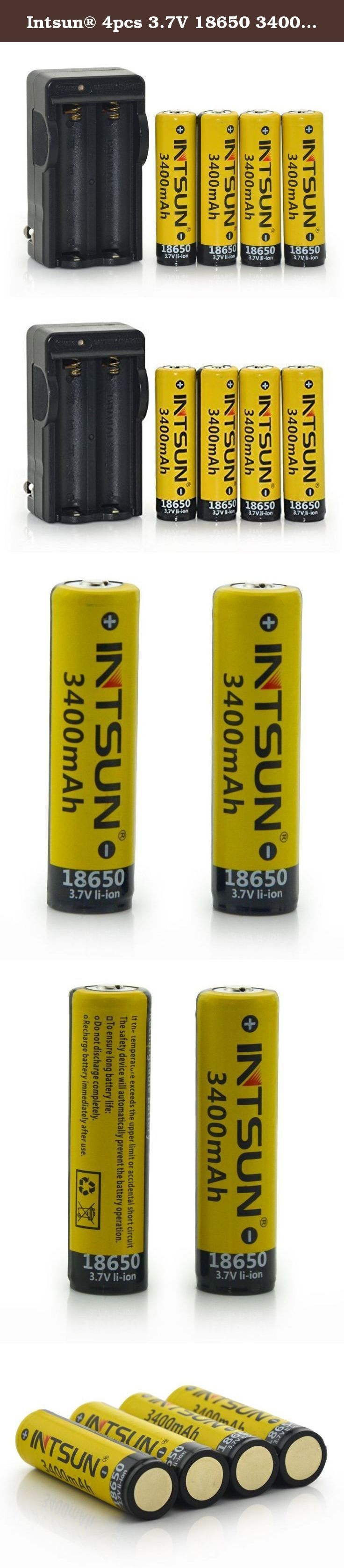 Intsun® 4pcs 3.7V 18650 3400mah Rechargeable Li-ion Battery with PCB and 18650 battery Charger for LED Flashlight, Headlamps, search light lamp, etc. Features: * High quality and durable. * No memory effect, Environmentally friendly. * Provides excellent continuous power sources to your device. * This battery has an extra long life for all your battery powered devices. * With overcharge / discharge protection function that you can use it without worry. * Can be used in laser pointer, Led...
