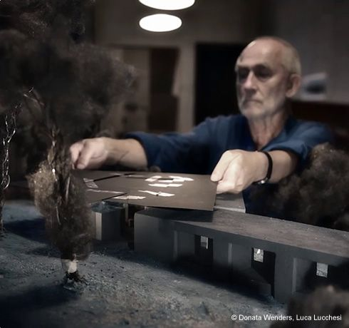 Peter Zumthor with his model, still image from film 'Day in the life of an Architect' by Donata Wenders & Luca Lucchesi #architecture