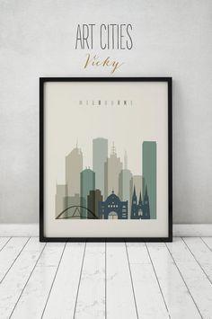 Melbourne print, Poster, Wall art, Australia Melbourne skyline, City poster, Typography art, Home Decor, Digital Print, ART PRINTS VICKY.