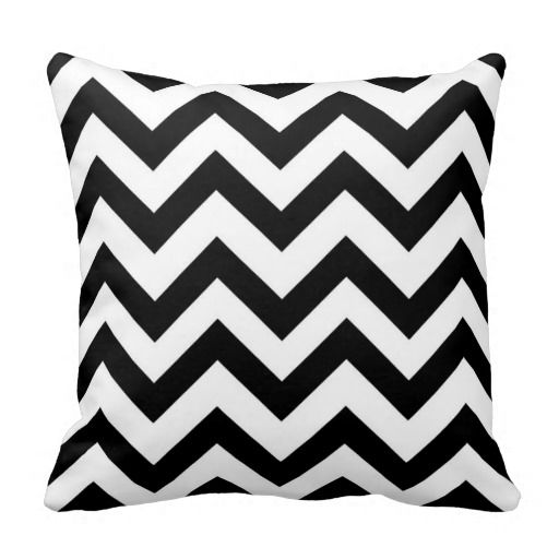Black and white chevron pillow.