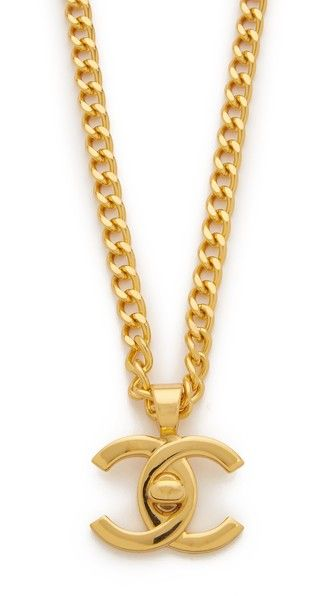 Chanel Turn Lock Charm Necklace (Previously Owned) - This previously owned Chanel necklace is from the 1996 collection. Interlocking C pendant. Curb chain. Turn-lock clasp.