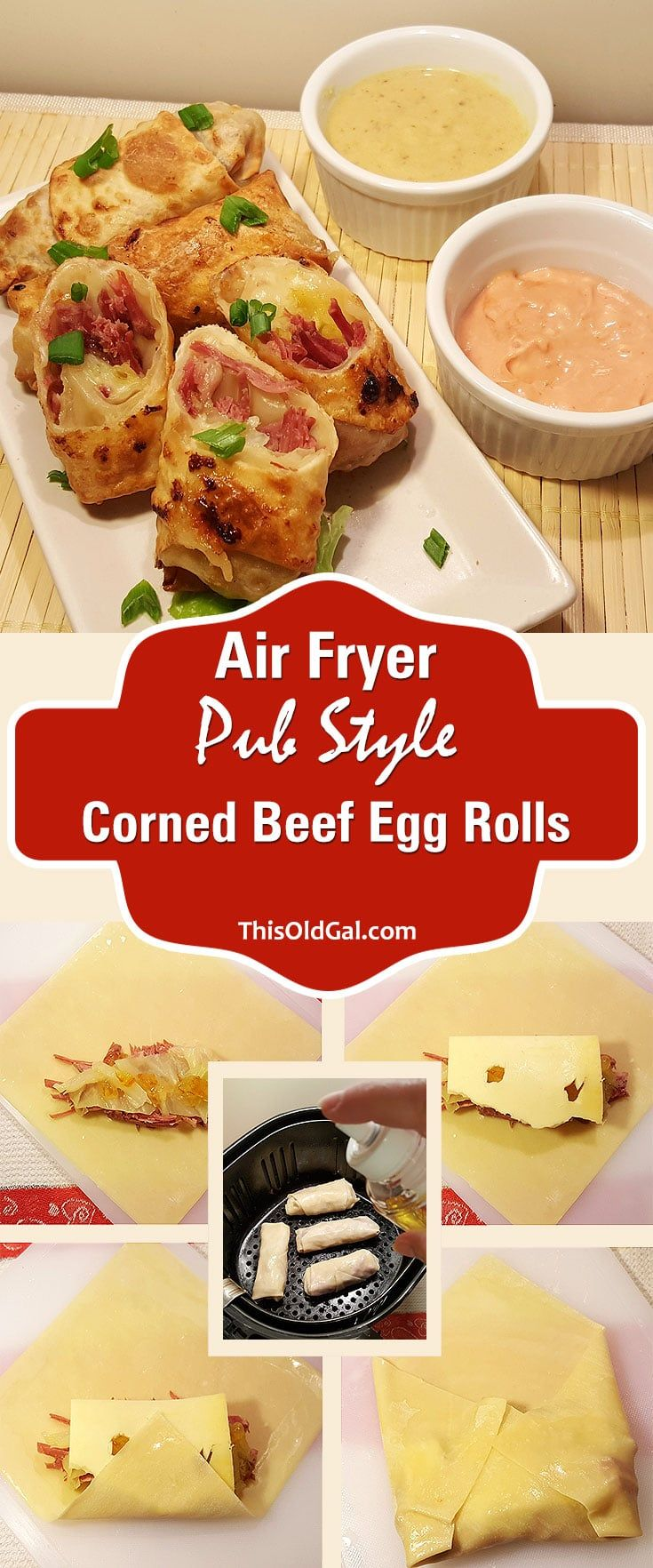 Air Fryer Pub Style Corned Beef Egg Rolls via @thisoldgalcooks