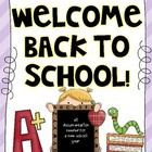 Welcome Back Pack includes but is not limited to:  -First Letters Home to Parent and Student  -Bus, Walk or Drive info  -Student info  -Posters for way...  20 pages for only $5.00!!!