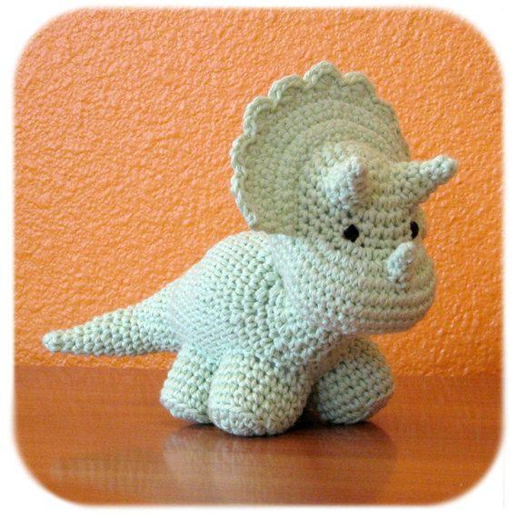 Amigurumi Cotton Yarn : Stuffed triceratops dinosaur crochet amigurumi plush in ...