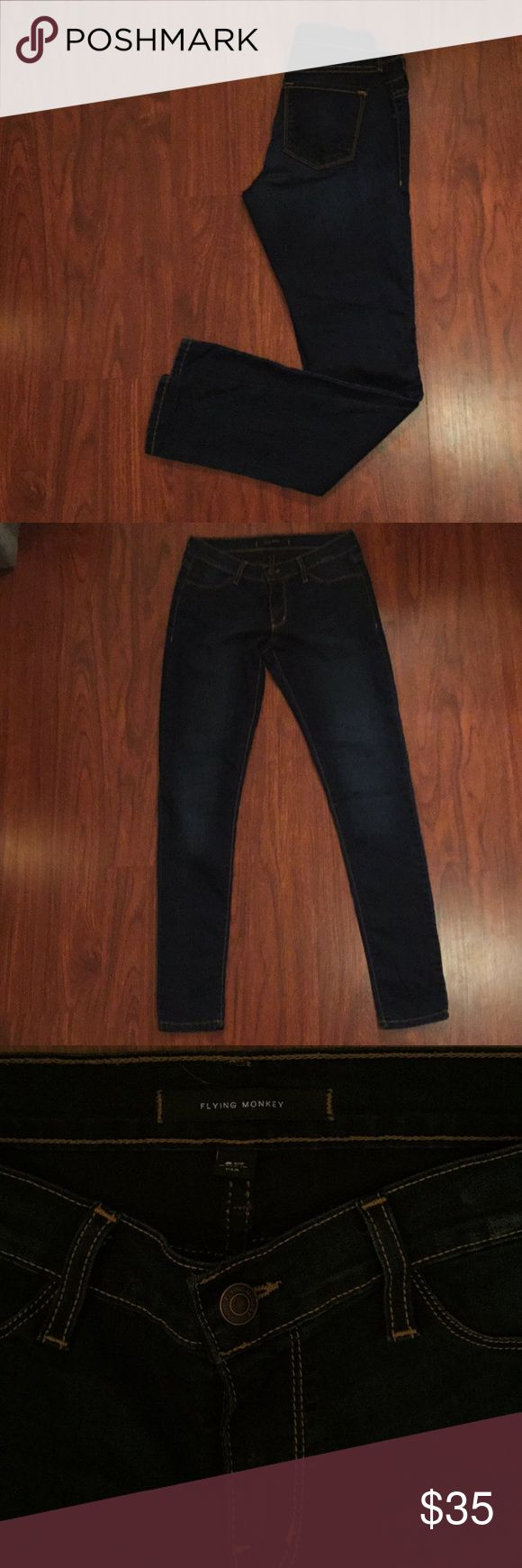 NEW WITHOUT TAG flying monkey skinnies NWOT! Size 28. Amazing dark wash skinnies with gold stitching details. Great stretch to them, fit true to size. Flying Monkey Jeans Skinny