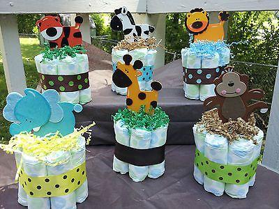 Tema Pañal Mini Tortas safari selva bebé ducha Pieza Central!!! | Baby, Diapering, Diaper Cakes | eBay!