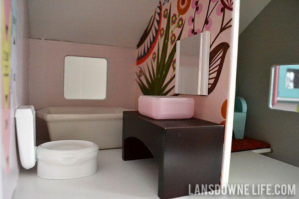 Dollhouse bathroom with handmade furniture