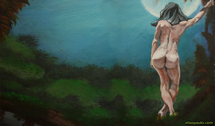 woman looking the moon, figure drawing, acrylic painting.