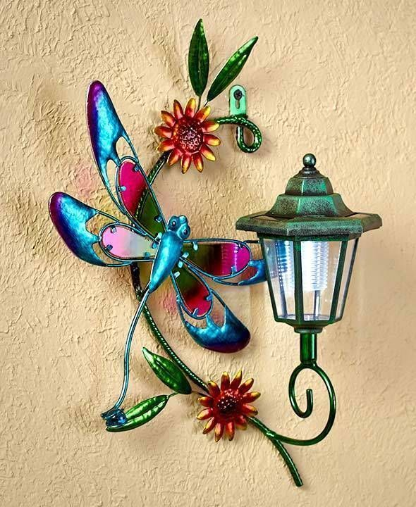 Solar Light Fence Dragonfly Wall Art Indoor Outdoor Garden Patio Home Decor