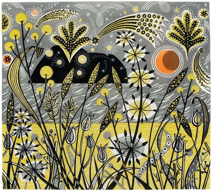 """Island Celebration"" by Angie Lewin (linocut)"
