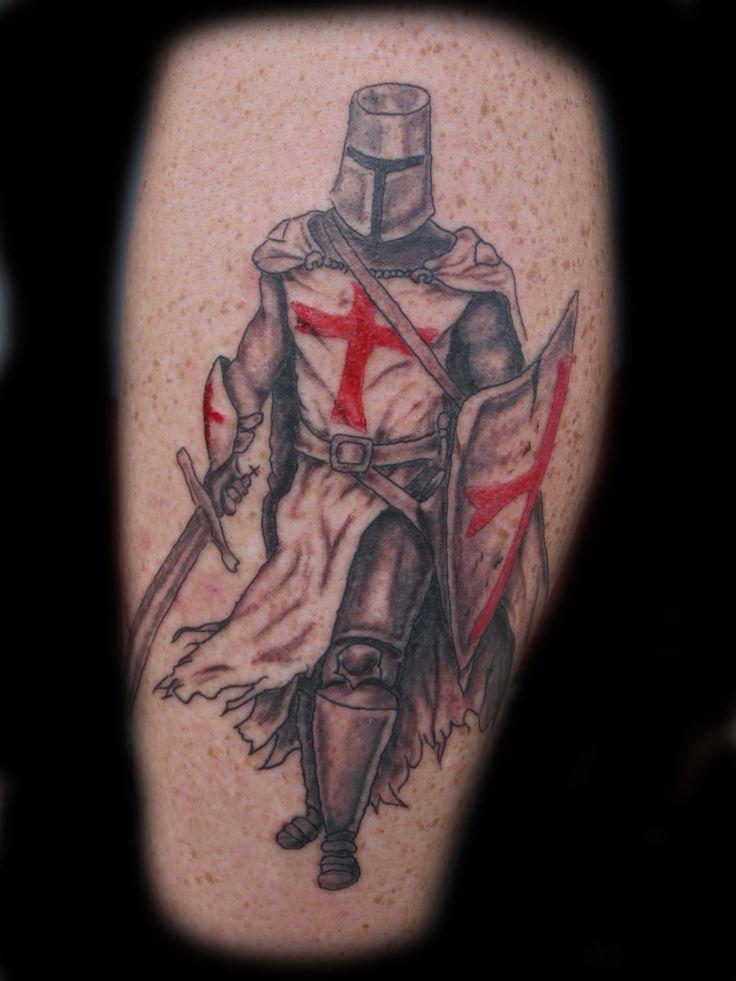 Templar knight tattoo, knight tattoo, warrior tattoo, sword tattoo, leg tattoo.