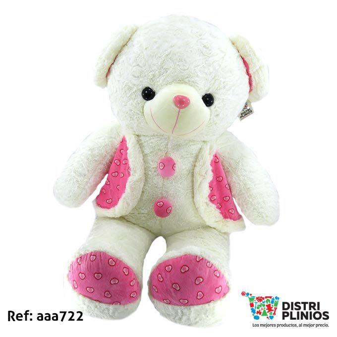 Oso De Peluche Gigante Con Chaleco Rosado Para toda ocasión Hermoso oso de peluche gigante blanco con sonido y chaleco rosado, ideal para regalar en esta temporada. Medidas Alto: 117 cms Largo: 62 cms Ancho: 44 cms. Para ventas al por mayor comuníquese al 320 3083208 o al 3423674 en Bogotá