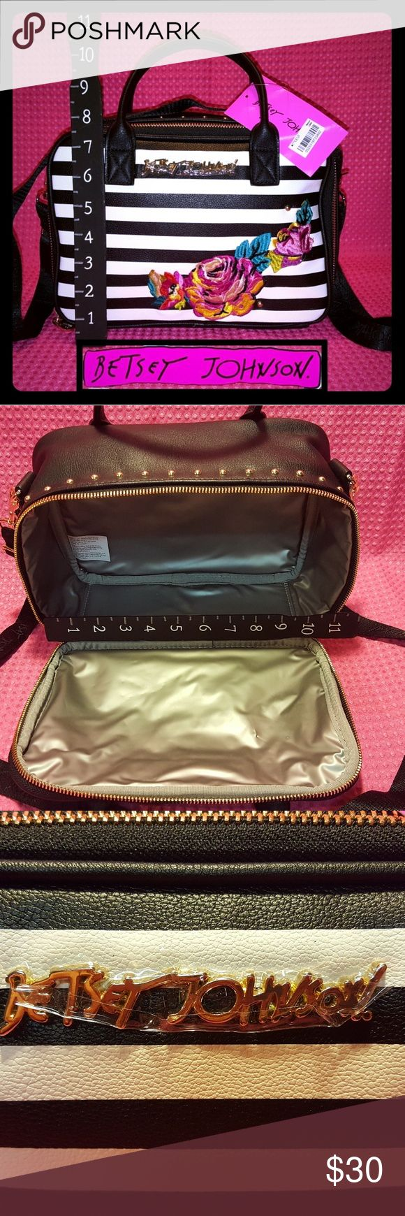 Betsey Johnson Embroidery Lunch Tote Insulated Lunch tote....Gold studs around top...Beautiful  multi-colored embroidered flowers... Can be carried with straps or crossbody strap Betsey Johnson Bags Totes