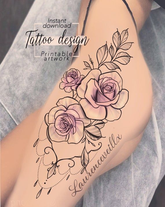 Tattoo Design Roses Ornemental Jewelry Digital Female Floral Flowers Design Tattoo For Thigh Arm Back Unique Woman Tattoo Art Tatuagem De Coxa Tatuagem Floral Tatuagem